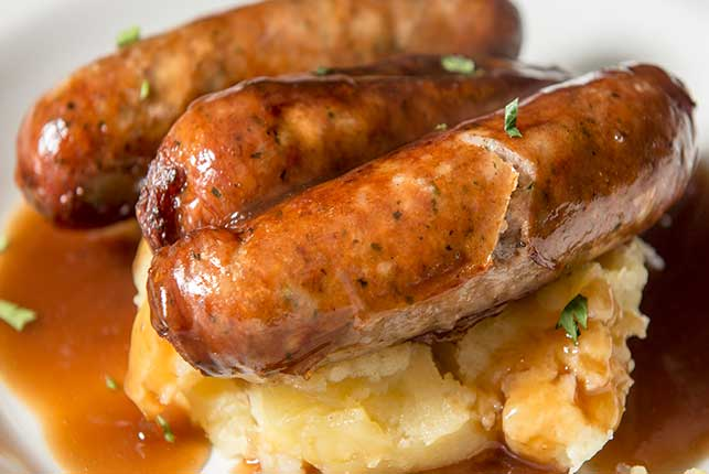 Bangers and Mash with Onion Gravy Gluten Free